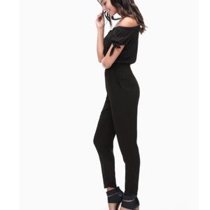 Splendid Sz XL Rayon Voile Jumpsuit Black Knit